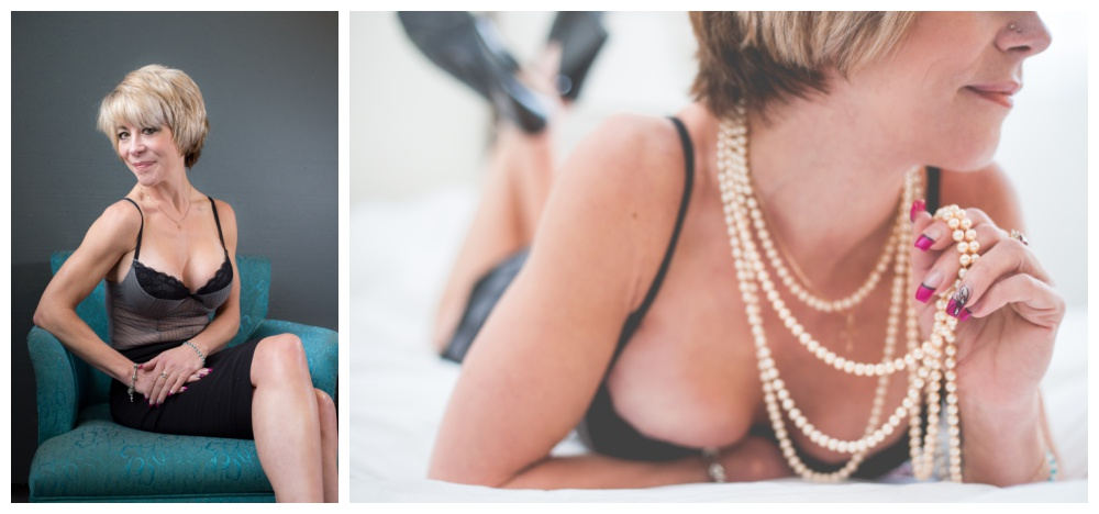 40+ woman posing for intimate boudoir images