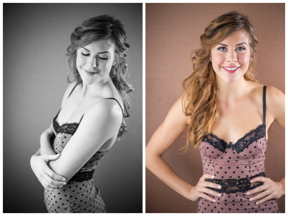 Woman poses for boudoir session in a polkadot slip