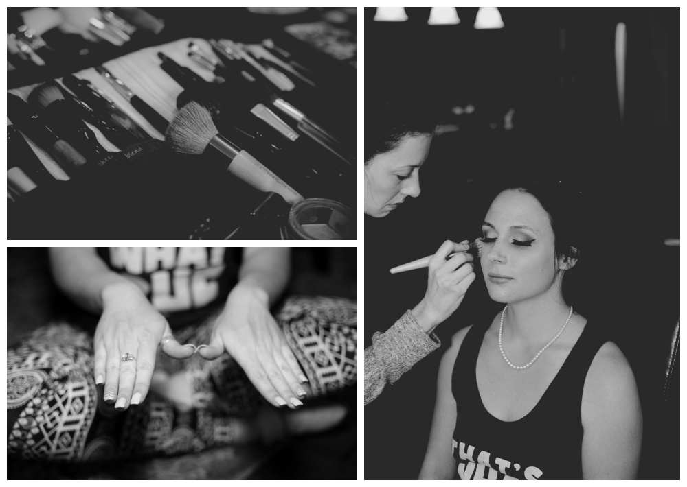 Black and white images of wedding prep and bride getting ready