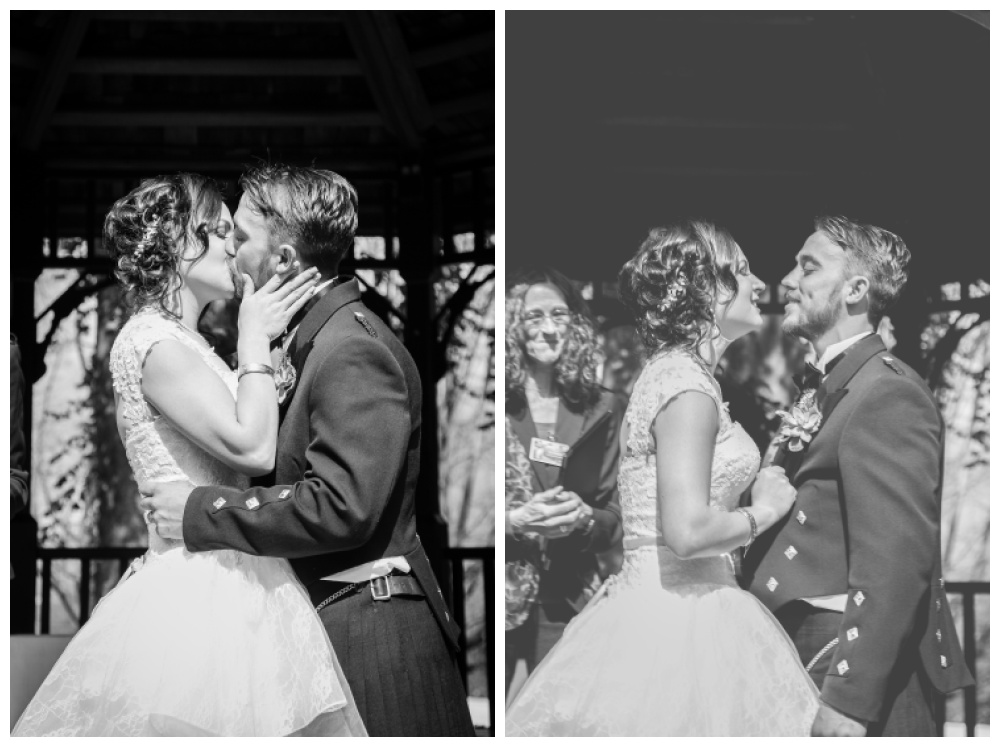 Bride and groom have their first kiss.