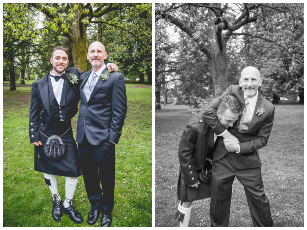 Groom and father in law goof around during family photos