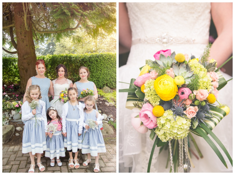 Bridesmaids and bouquet at New West wedding in Queens Park