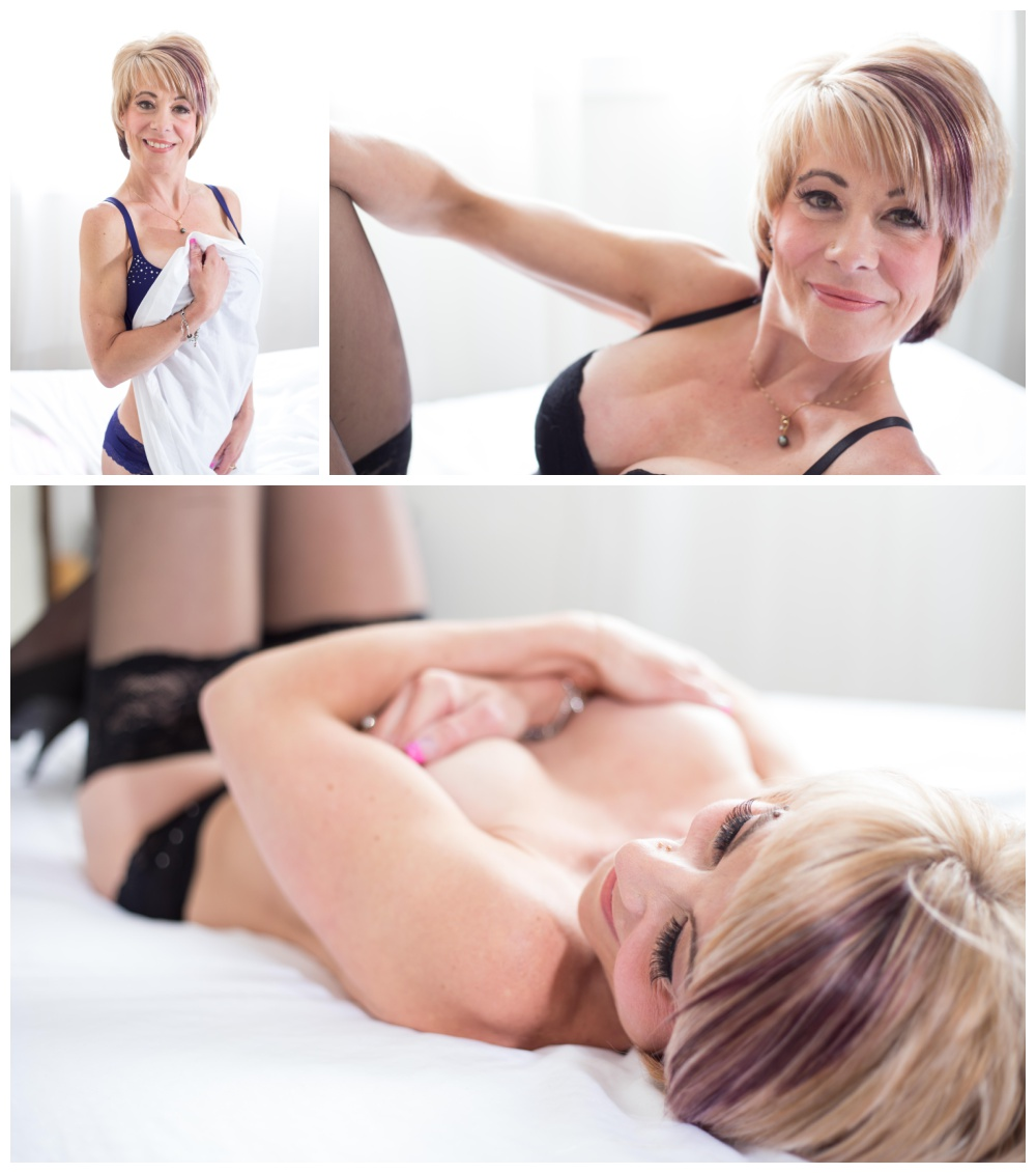 Boudoir photographs in nanaimo featuring older woman