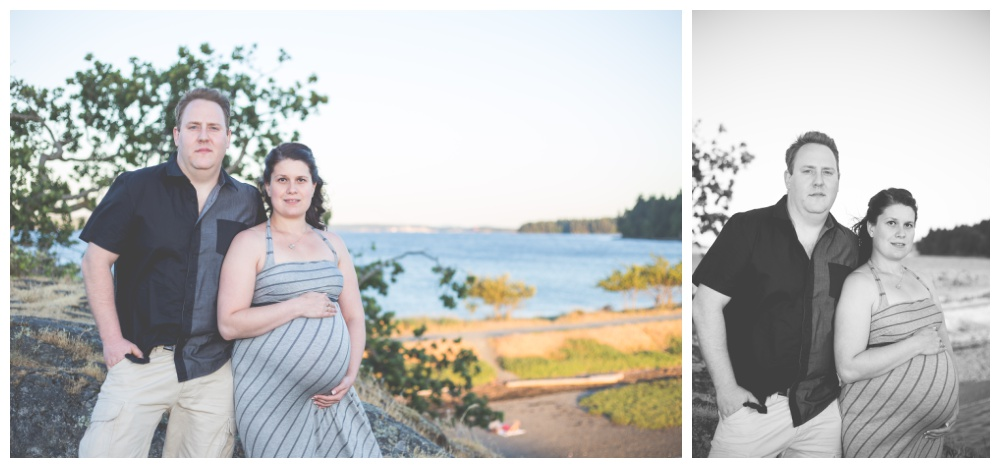 Couple poses for maternity photos at sunset at Nanaimo Pipers Lagoon