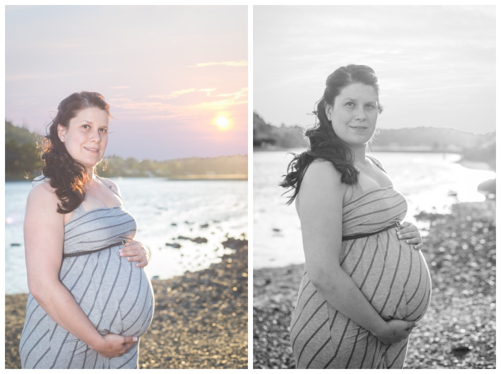 Pregnant woman in a striped dress poses for maternity photos at sunset