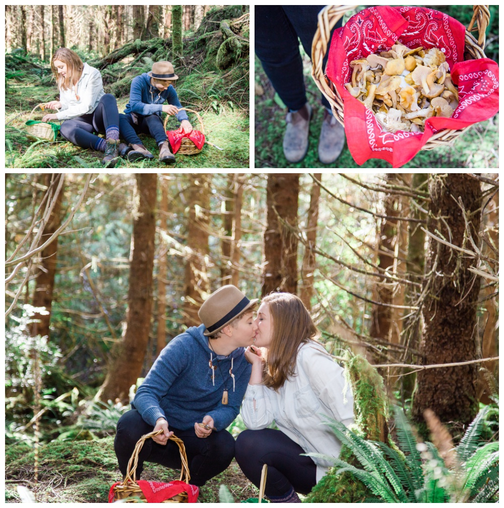 Lesbian couple's tofino forest mushroom picking engagement session