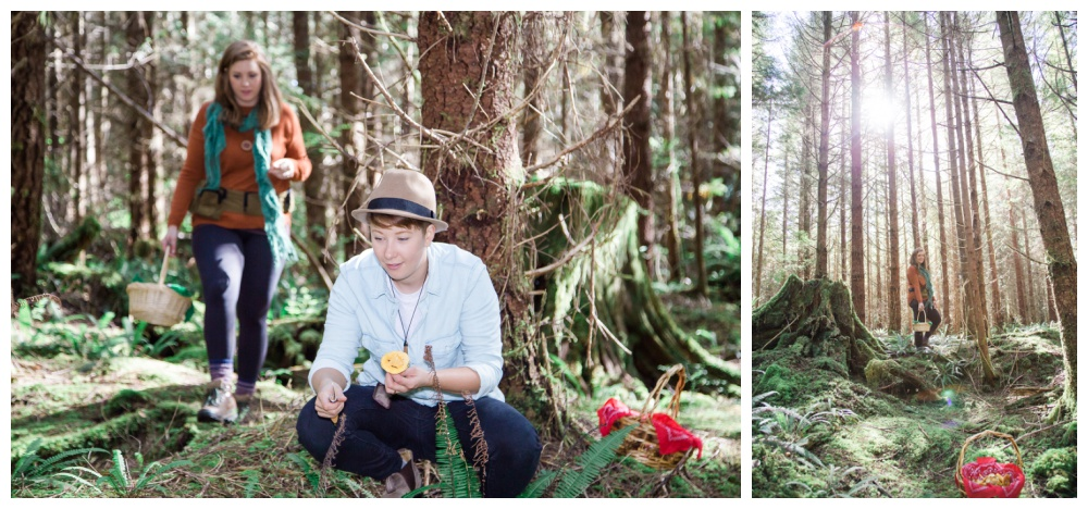 Same sex Tofino forest engagement session