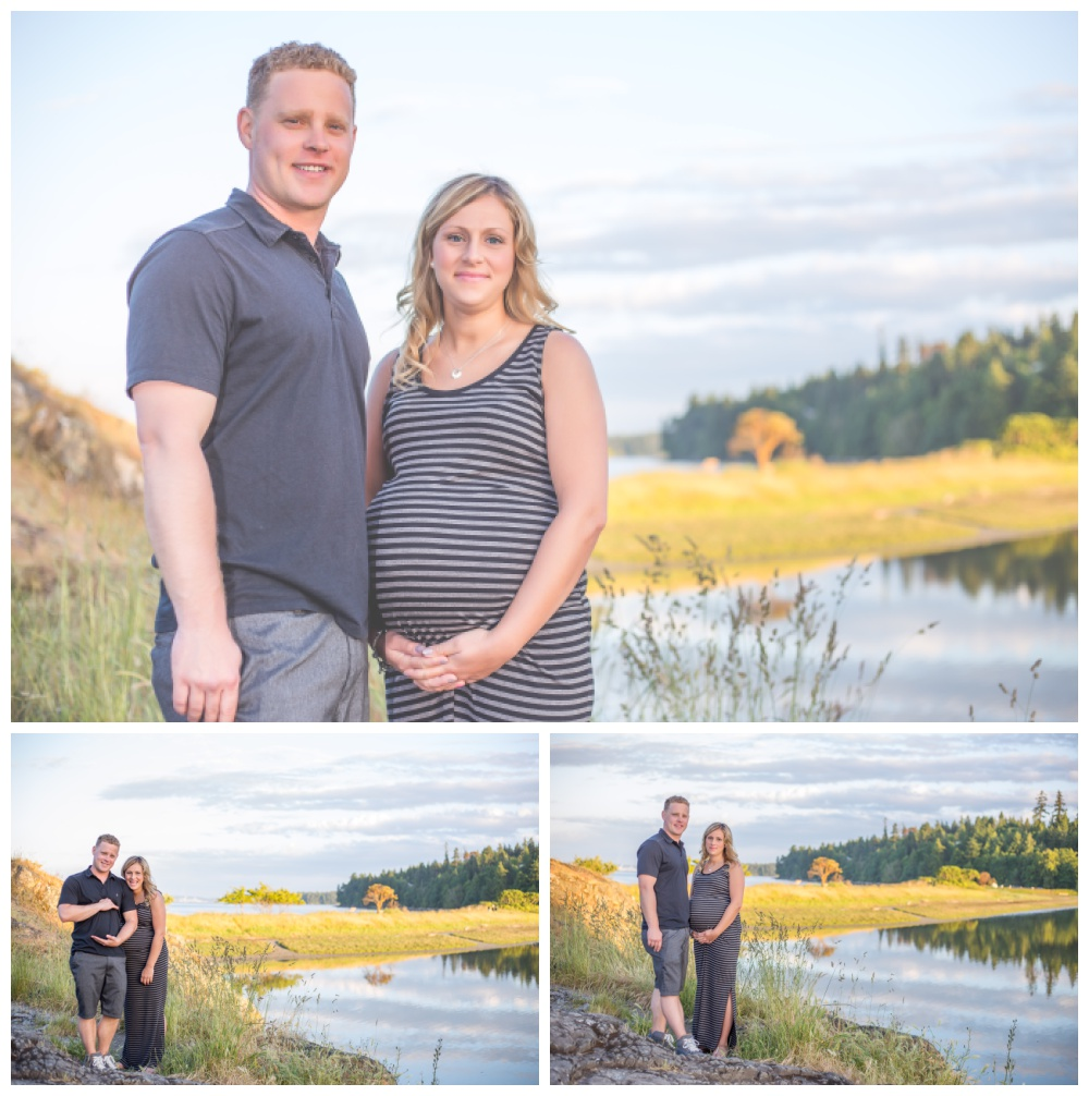 couple poses for maternity photos at nanaimo neck point park