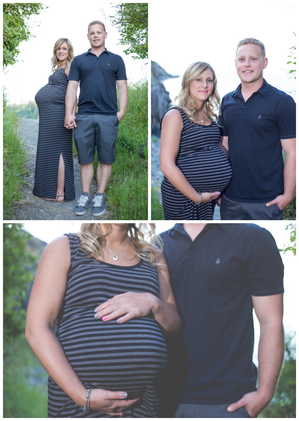 Set of 3 pregnancy photos at Nanaimo's Neck Point Park