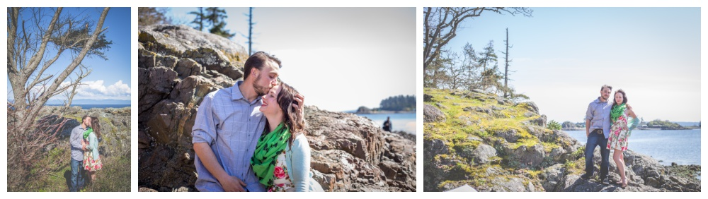 Cute couple poses for their engagement photos at Nanaimo's Neck Point Park