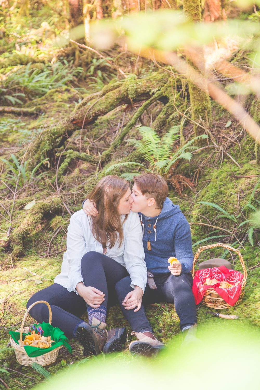 Jess & Mercedes' Forest Mushroom Picking Engagement Session