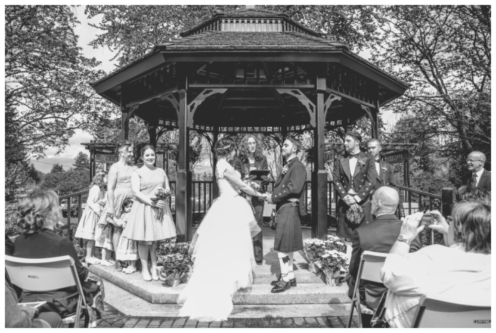 Wedding ceremony at the rose garden gazebo in Queens Park