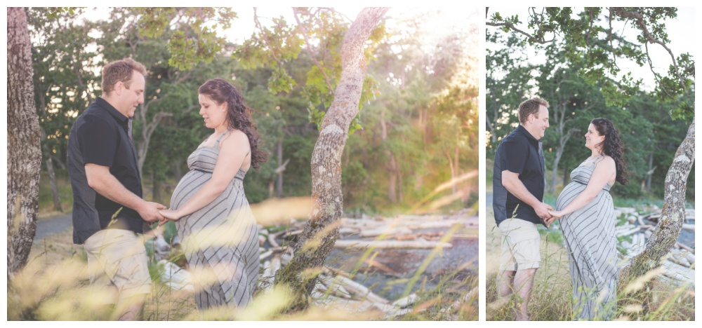 Sunset maternity photos of a couple in long grass at nanaimo park