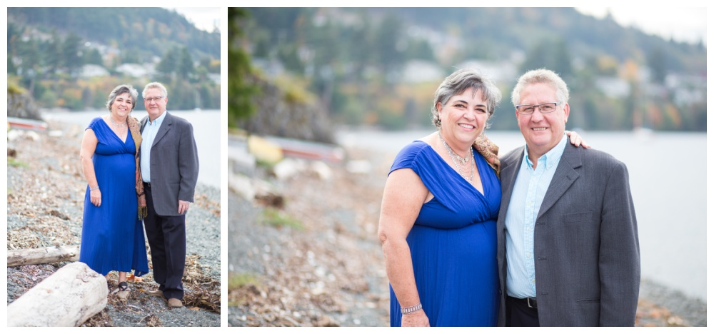 Mature couple takes photos at the beach in Nanaimo