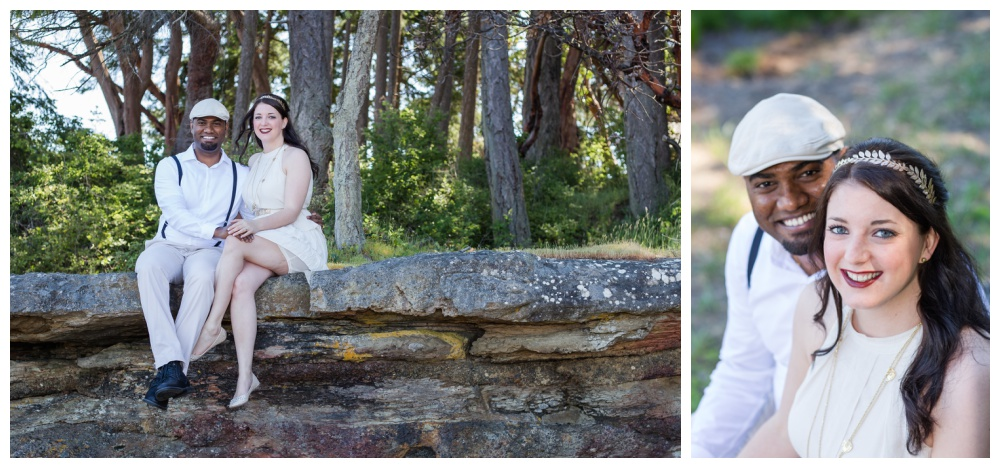 Mixed race couple poses for engagement photos in Nanoose Bay