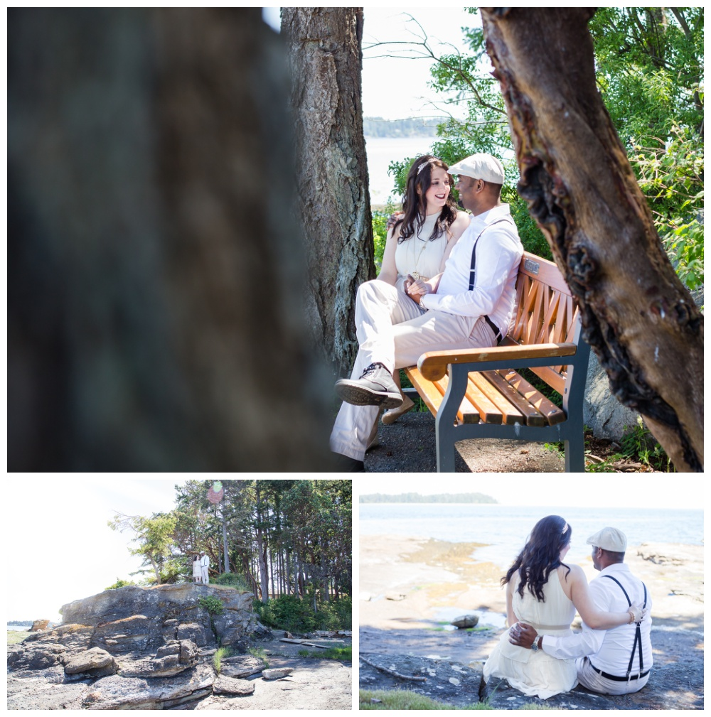 Romantic beach engagement photos in Vancouver Island's Madrona Point