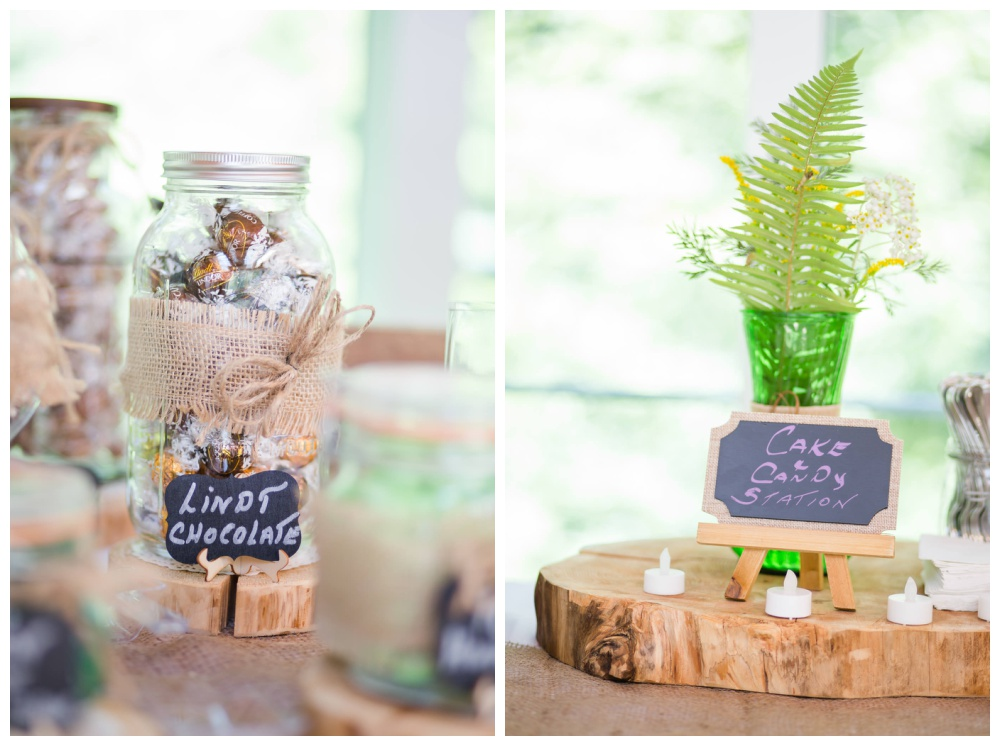PNW forest wedding candy bar details
