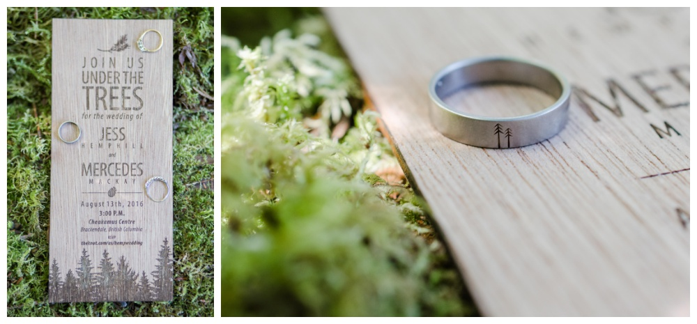 Forest wedding ring and invite details