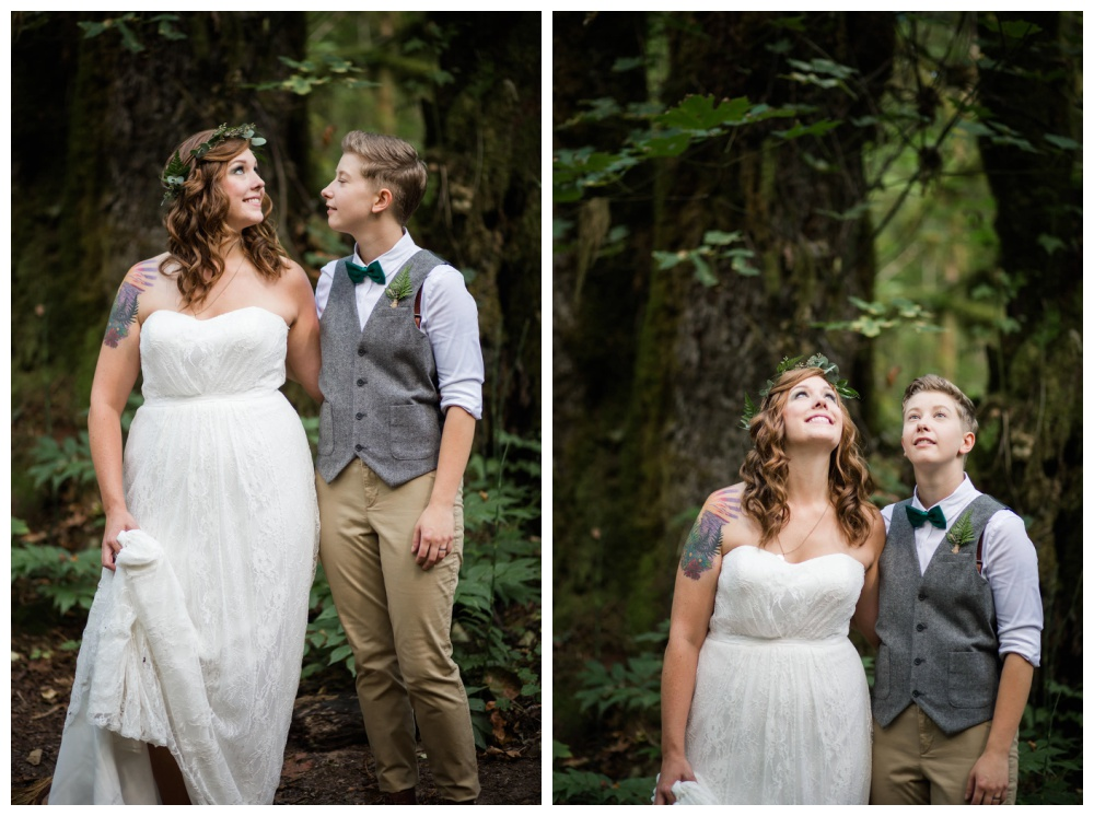 Lesbian couple's wedding photos in the forest - Vancouver Island same sex weddings