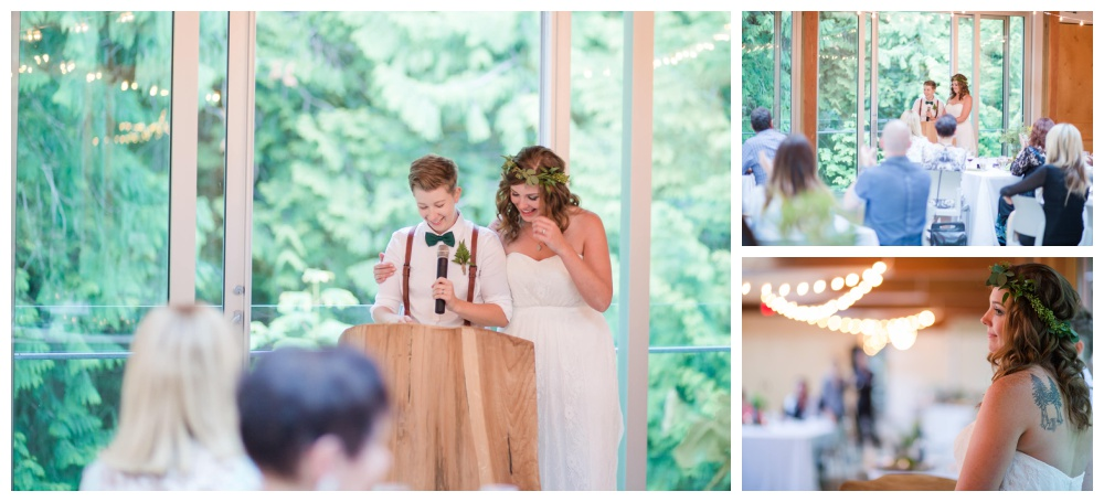 Brides give a speech at their forest wedding at Cheakamus Centre