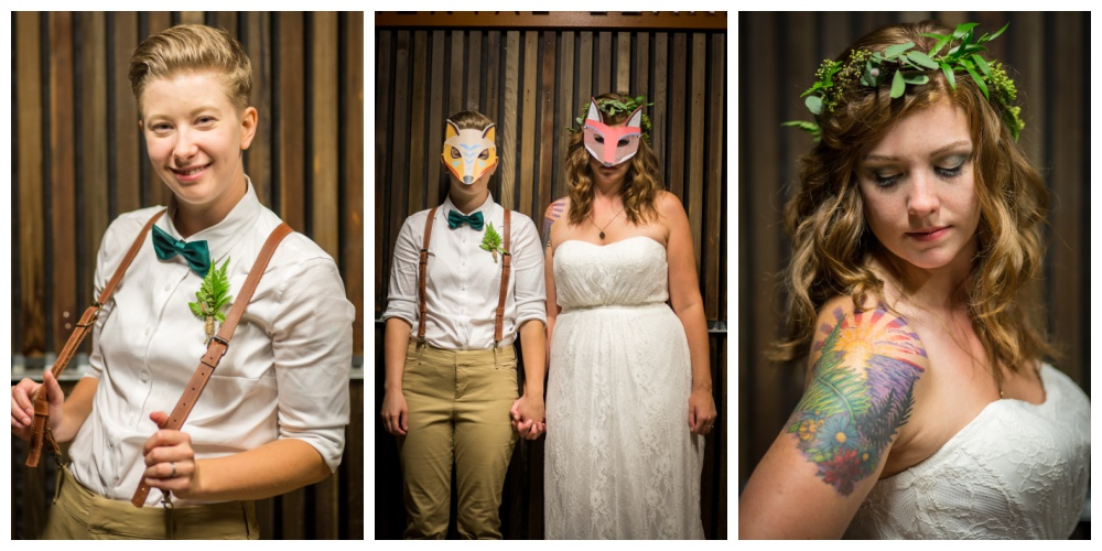 Forest creature masks and brides at the end of their wedding