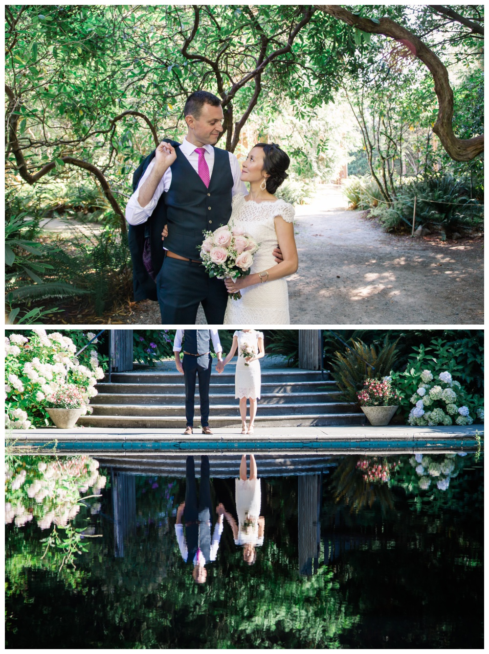 Bride and groom at Milner Gardens - Intimate Wedding Vendors Qualiucm