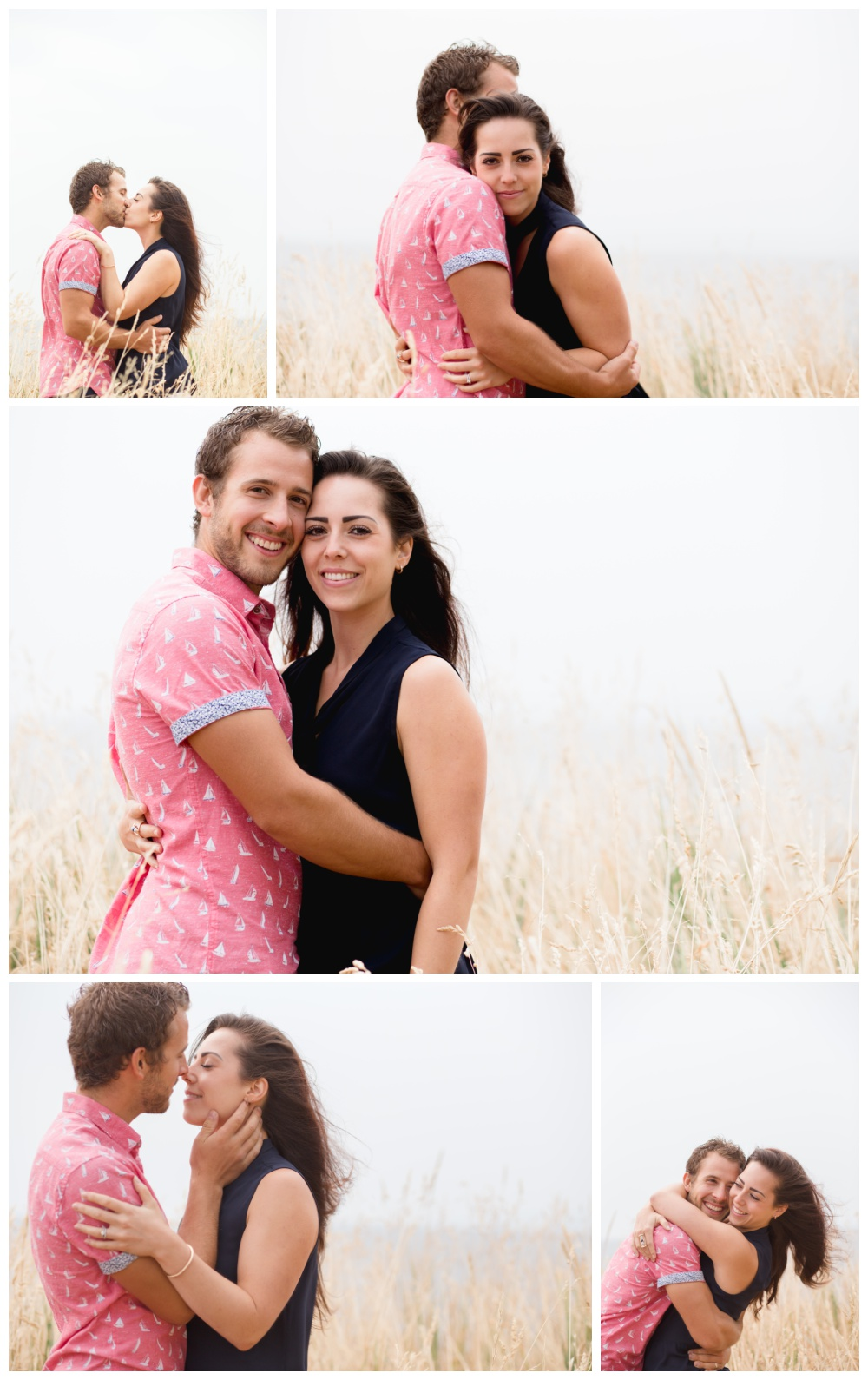 Sweet couples photos in long dry grass on the beach