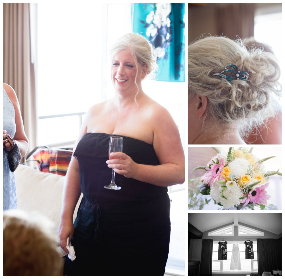 Bride getting ready for her wedding at the beach club