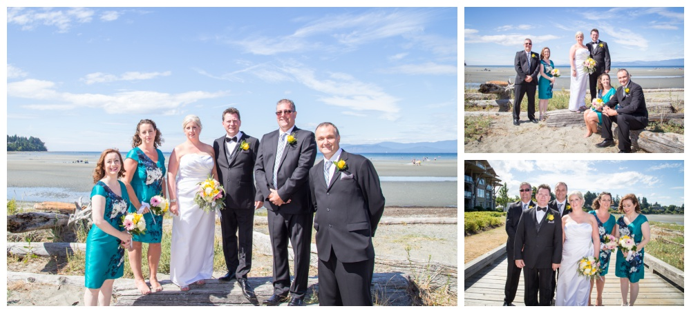 Wedding party photos at the beach club in parksville