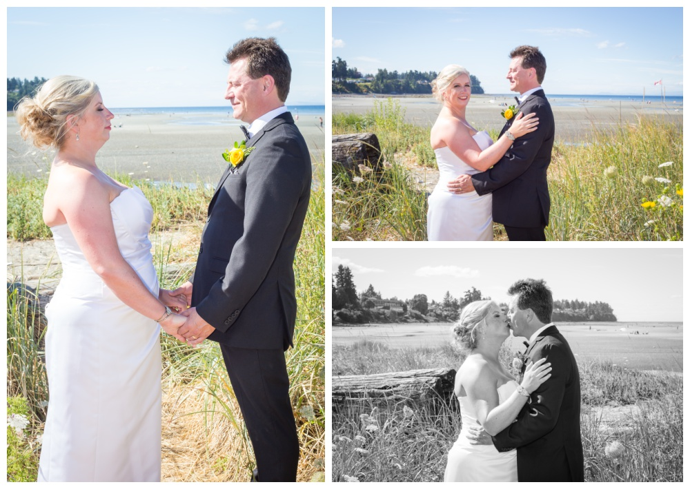 Bride and groom portraits on the beach in parksville