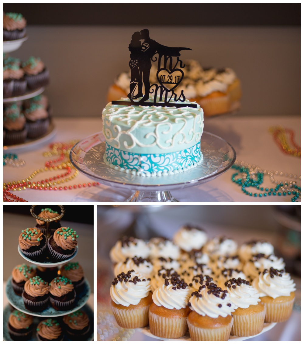 Wedding cake and cupcakes with superman topper