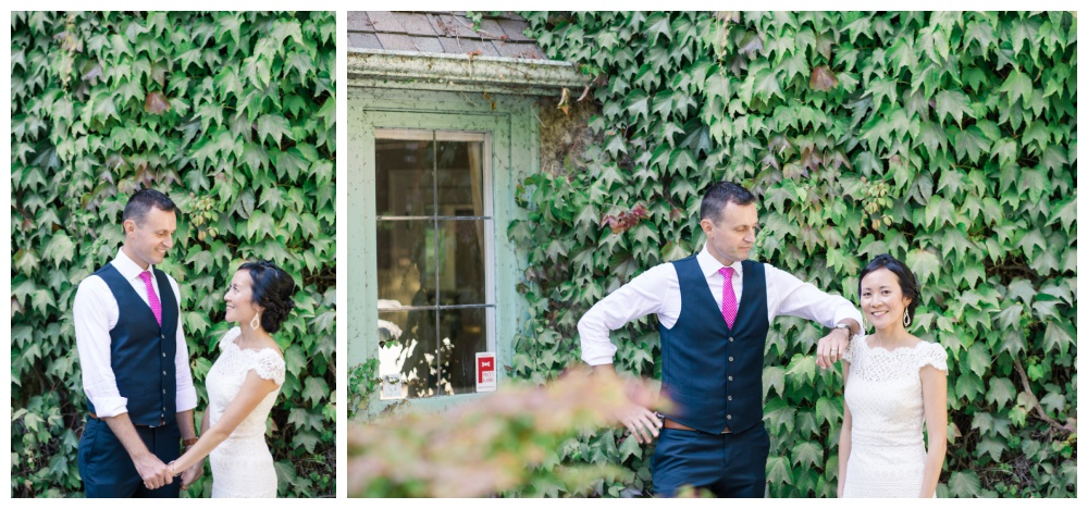 Bride and groom in front of Qualicum's intimate wedding venue, Milner Gardens